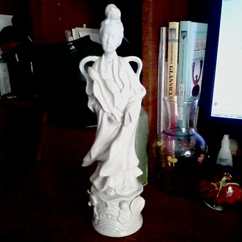 "Vintage Blanc de Chine Porcelain Statue of Kwan Yin ""Goddess of Mercy"" By Homco Circa 1960 /1970"
