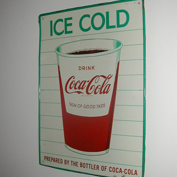 "50's-60's  Coca-Cola Cup Sign ""Prepared by the Bottler..."""