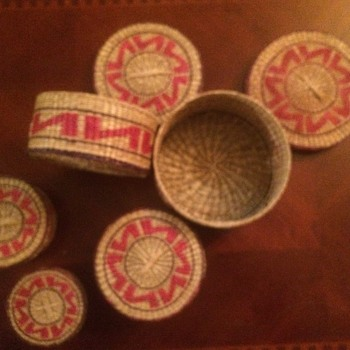 The  woven baskets I found  I think they are native American they are nesting baskets made of hay or grass