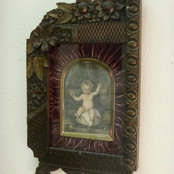 Old Drawing of Child in Great Frame - Art Nouveau
