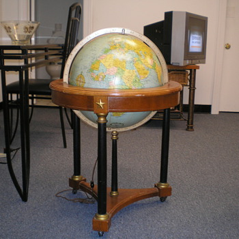 "ANTIQUE ILLUMINATED 16"" GLOBE ... LATE 40s' to mid 50s'"