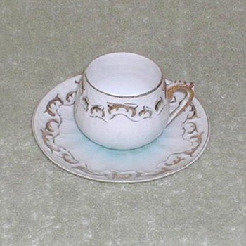 Porcelain demitasse cup & saucer blue tint - China and Dinnerware