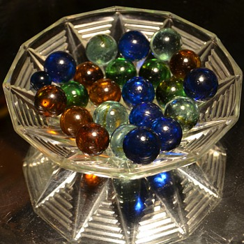 Beautiful Old Marbles in a beautiful old bag - Art Glass
