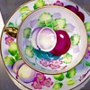1950's Ardalt Lenwile China Colorful Hand Painted Tea Cups Signed V Ahado Japan