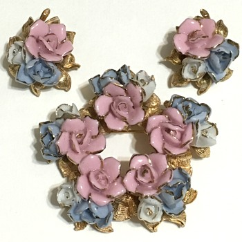 Pink & Blue Enameled Flowers  - Costume Jewelry