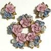 Pink & Blue Enameled Flowers
