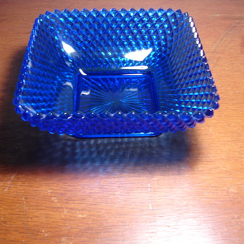 colored glass footed bowl,  blue-unknown maker