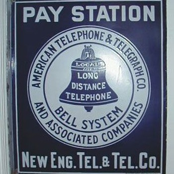 AT&T New England Tel & Tel Pay Station Sign - Signs