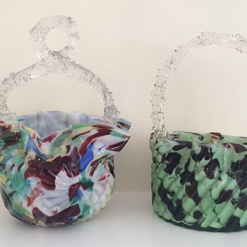 Pair of Welz baskets for Anne et al. - Art Glass