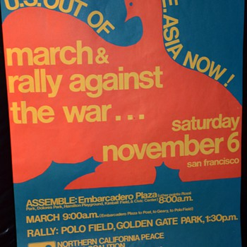 U.S. Out of S.E. Asia Now! 1974 rally poster - Posters and Prints
