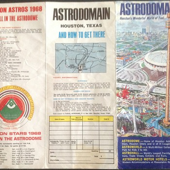 HOUSTON ASTROS 1968 schedule ASTRODOME  - Baseball