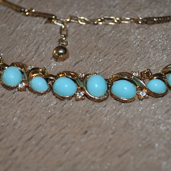 Robin's egg blue faux turquoise necklace - Trifari