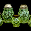 Northwood Spanish Lace Vaseline Glass Opalescent Shakers
