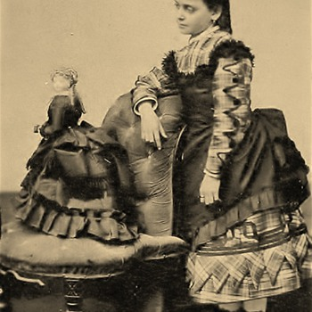 Cabinet card girl with her French fashion Doll Mid 1800's