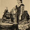Cabinet card girl with her French fashion Doll Mid 1800&#039;s 