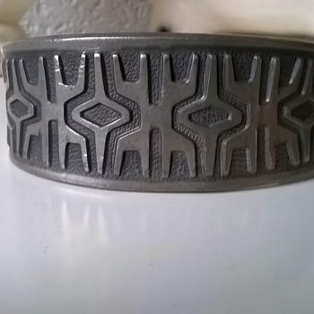 Vintage Brodrene Mylius Mid-Century Modernist Pewter Cuff Bracelet Thrift Shop Find $2.50