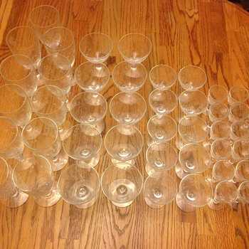 A set of 56 antique wine glasses