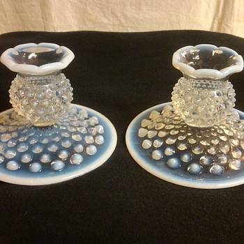 PAIR OF FENTON FRENCH OPALESCENT HOBNAIL CANDLE HOLDERS