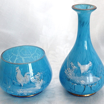 Harrach Marmor Aquamarin/Muhlhaus (possibly) Vase and Bowl set - with Chickens! - Art Glass