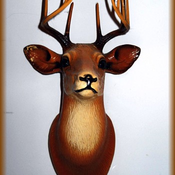 Vintage Chalkware Deer Head - Figurines