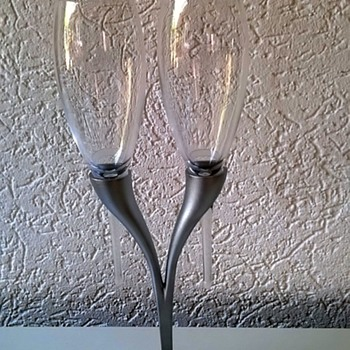 Moet & Chandon Twin Champagne Flute Candelabra Thrift Shop Find $2.50 - Advertising