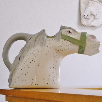 Animals & Co. Dapple Grey Horse Head Water Pitcher Signed Numbered Help - Art Pottery