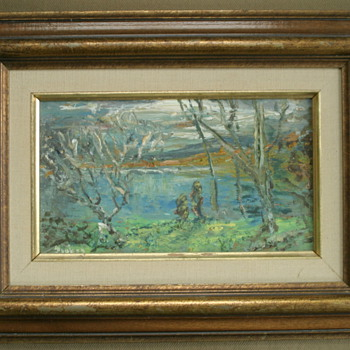 unusual impressionist oil painting, can't read signature