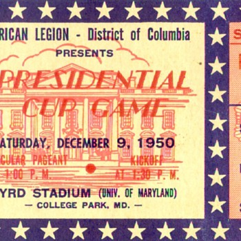 1950 Presidential Cup Bowl ticket UGA vs Texas A&M - Football