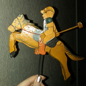 wooden handmade horse and jockey with weight (teeter totter toy maybe)