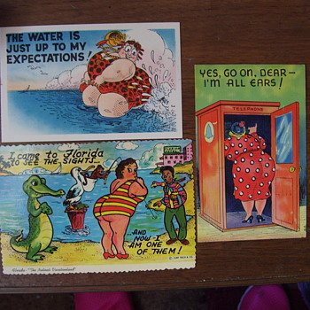 """""BUBBLE BUTT"" LADIES,INSULTED ON 1940s POSTCARDS!"