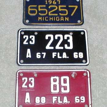 Motorcycle License Plates 1967-69 - Motorcycles