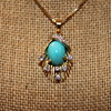 18K Pendant with Persian Turquoise and Diamonds