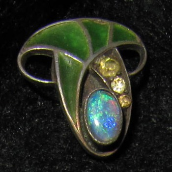Tiny silver plique-a-jour enamel opal and paste slider.