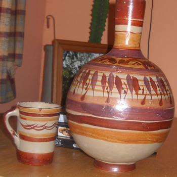 Native American water jug and cup - Native American