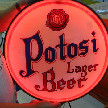 Potosi convex glass lighted sign-WI.