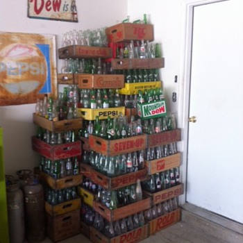 Stack of Pop Bottles and Crates - Bottles