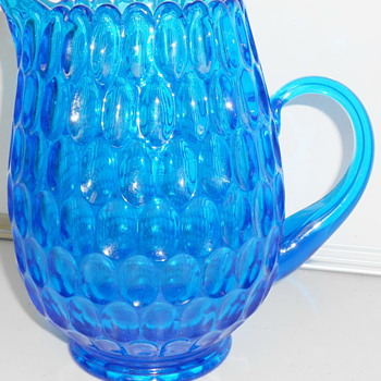 Fenton Thumbprint Colonial Blue 64 oz. Pitcher - Glassware