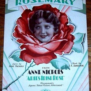 "ABIE'S IRISH ROSE , MOVIE SHEET MUSIC, 1928 TITLE,SONG ""ROSEMARY"""