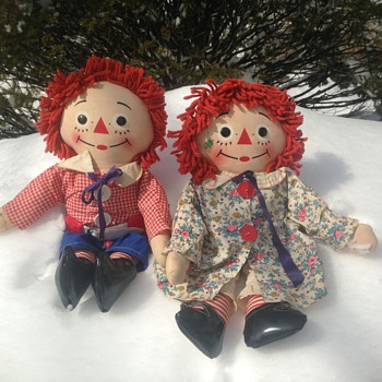 "Labeled Knickerbocker 20"" Raggedy Ann and Andy Dolls"