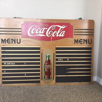 """Wood Menu Board 36"""" l x 25 3/4"""" w. , Cooler - Coca-Cola"""