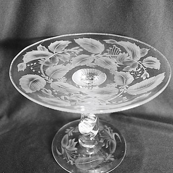 American Brilliant Cut Glass Compote Signed Libbey