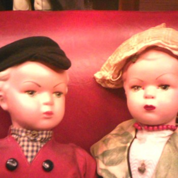 Ornate or celluloid Dutch Dolls - Dolls