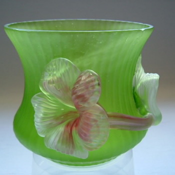Art Nouveau Kralik Applied Flower Vases - Art Glass
