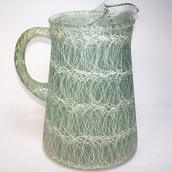 Vintage 1960s Colorcraft Spaghetti String Roly Poly Rubber Pitcher - Art Glass