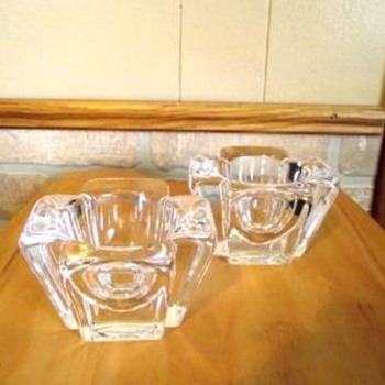 Orrefors Crystal Candle Holders - Art Glass