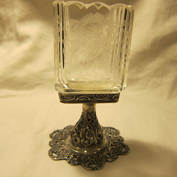 Cut Glass Holder with Silver Base