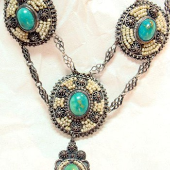 Antique Victorian Turquoise and Seed Pearl Necklace