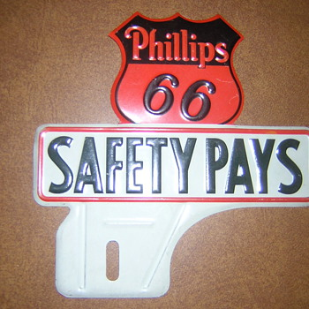 Vintage Phillips 66  License Plate Topper - Petroliana