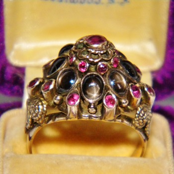 Antique Victorian Star Sapphire Ruby Thai Princess Ring 12k - Fine Jewelry