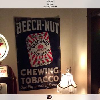 "1930's Original Lorillard's 10 cents ""BEECH-NUT"" Chewing Tobacco porcelain sign"